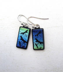 Dragonfly Earring Blue Green Fused Glass