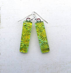 Green and Gold Fused Glass Earrings