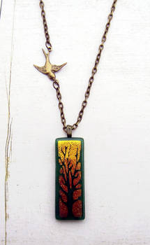 Golden Forest Fused Glass Necklace