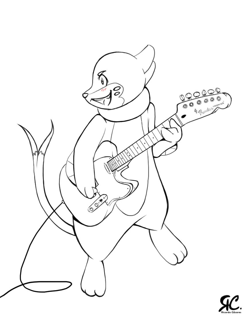 buizel coloring pages | + Buizel - Guitar :Lineart: + by KoUta-KuN on DeviantArt
