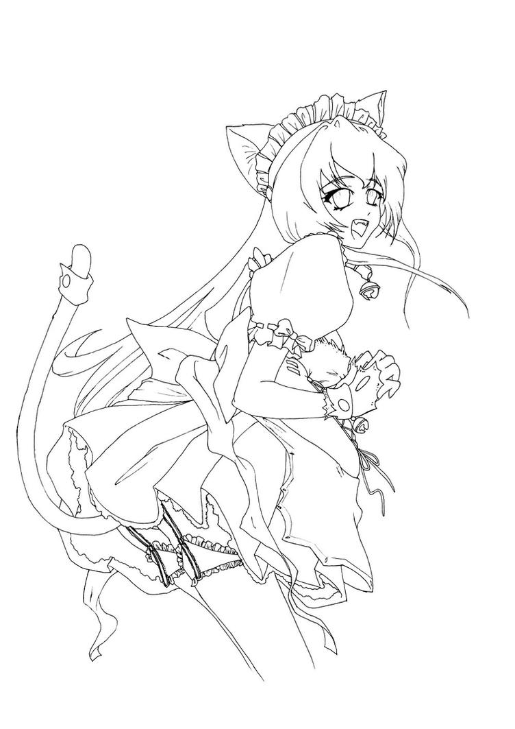 neko maid coloring page by hitodrago on deviantart