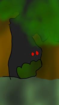 Ojos rojos en el bosque