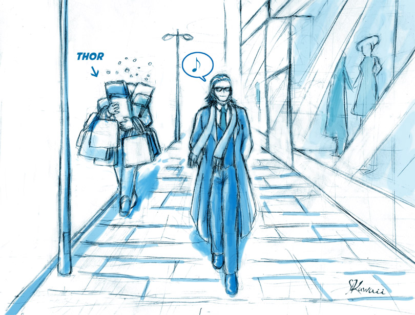 Never go shopping with Loki on Midgard... by StudioKawaii