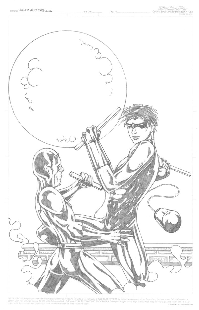 Nightwing vs daredevil by the moocat on deviantart for Daredevil coloring pages