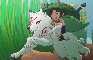 Amaterasu and Issun by niitefox