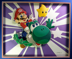 Mario and Yoshi by paperfetish