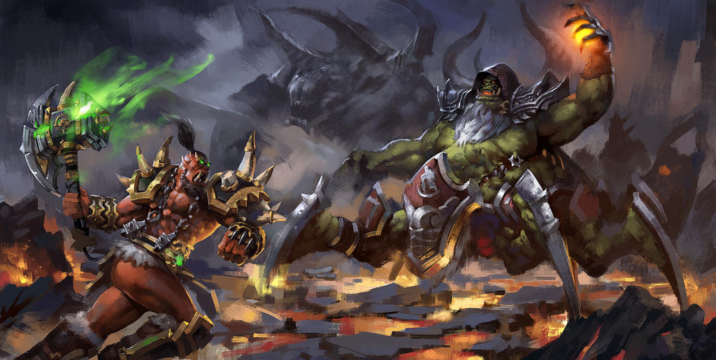 The hammer of hell Thrall VS AzGul'dan by zippo514