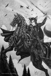 A Warrior and His Mighty Steed by Raiden-Silverfox