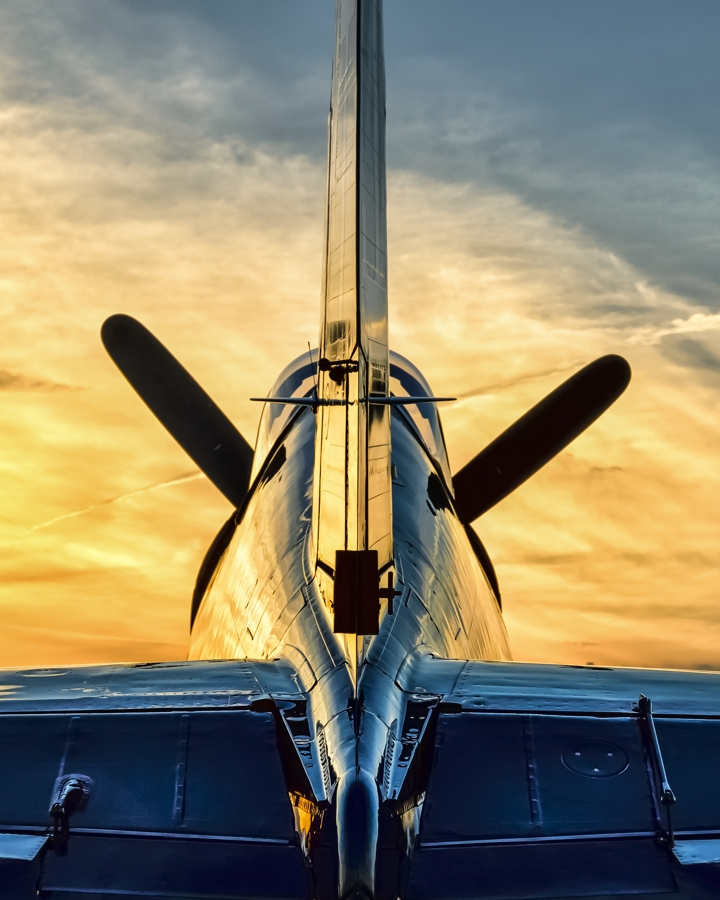 Corsair and Sunset by aviationbuff