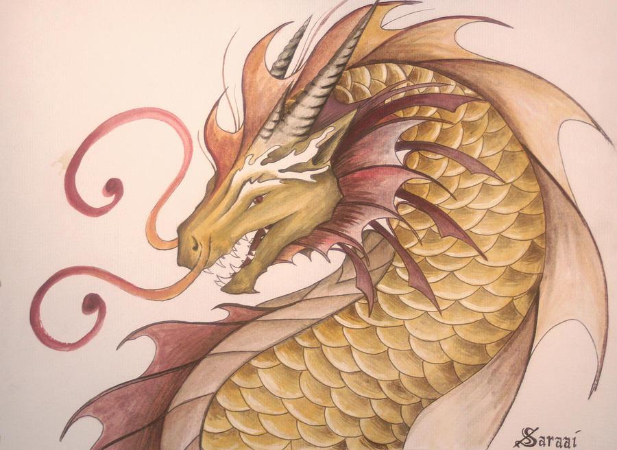 Golden Waterdragon by Saraais
