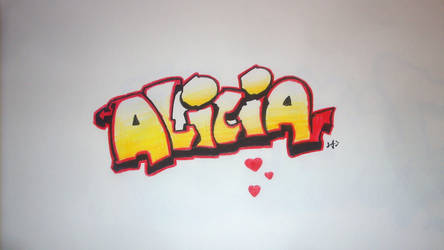 Alicia Graffiti Painting on Paper by utubedesignz