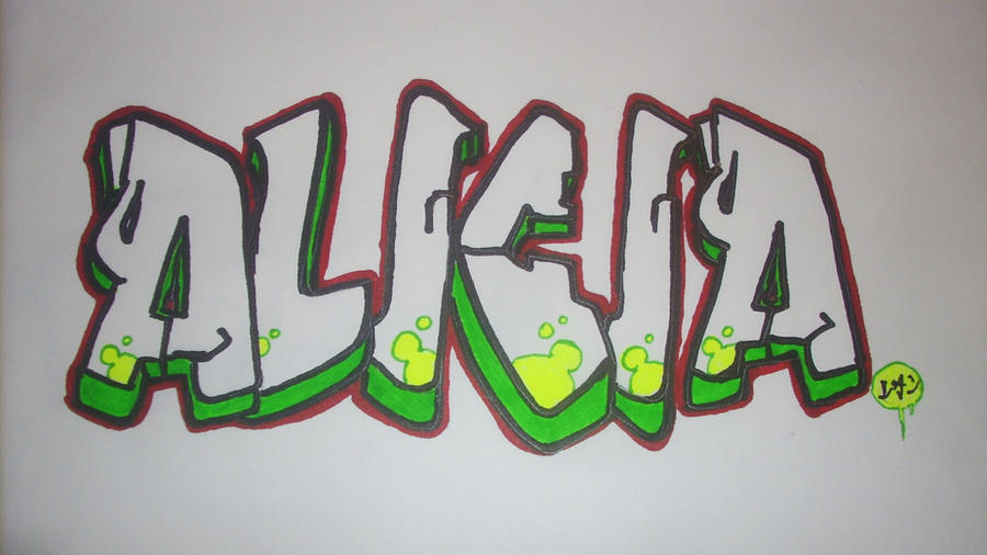 Alicia Graffiti Painting on Paper second one by utubedesignz on
