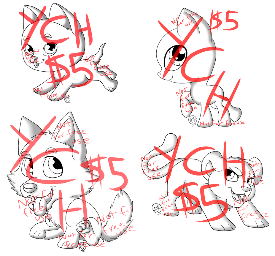 YCH Chibis- Cat, Canine, Big Cat and MLP by MetalWolfGemstone