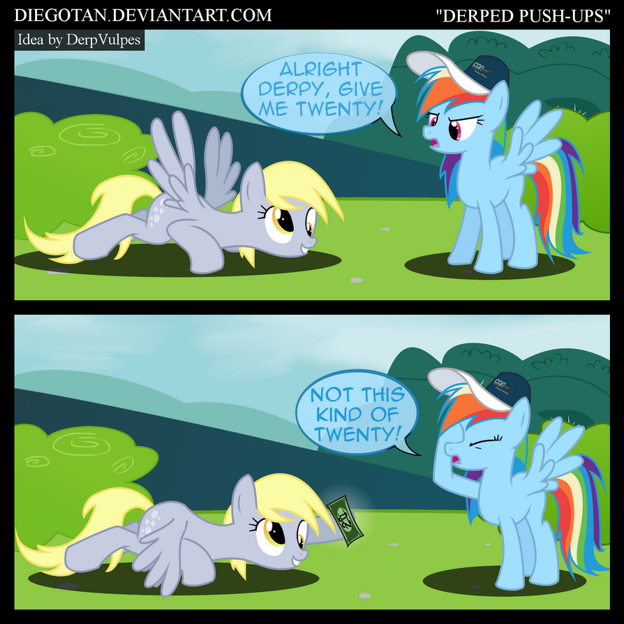 Derpy and Rainbow Dash in ''Derped Push-ups'' by DiegoTan