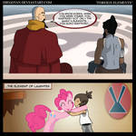 Korra and Pinkie in ''Foreign Elements''