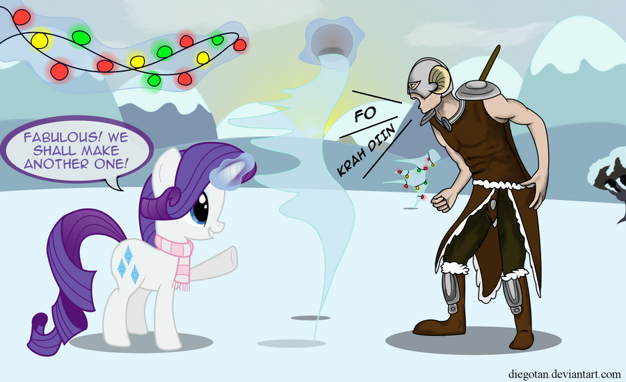 Rarity and Dovahkiin preparing HWE decorations by DiegoTan