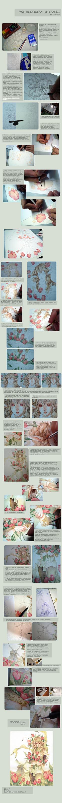 Watercolor Tutorial by Claparo-Sans