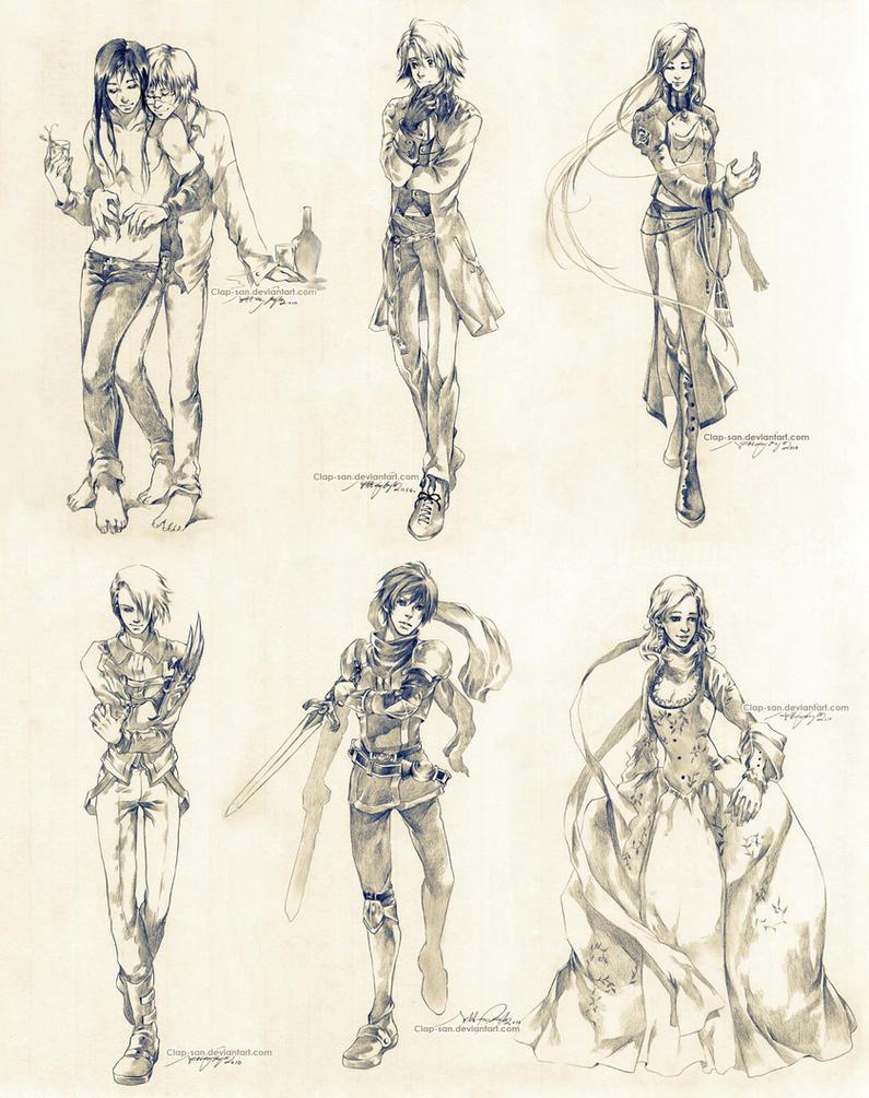 Sketch commissions - Set 2 by Claparo-Sans