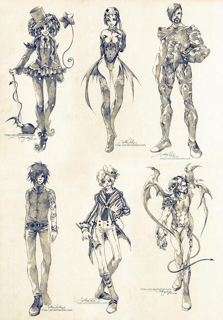 Sketch Commissions - Set 4 by Claparo-Sans