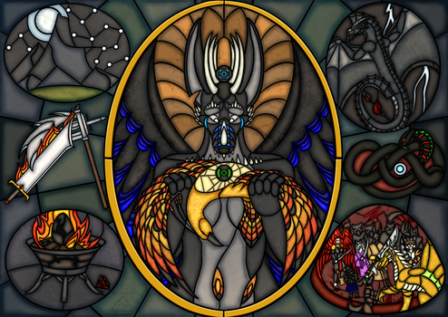 Battle of the Serpent Stained Glass 1