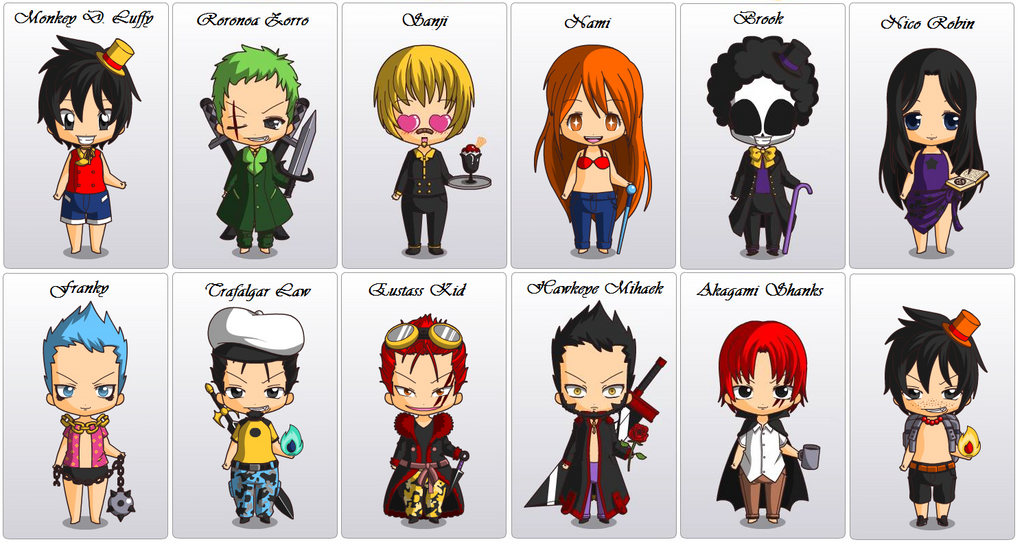 1 Piece Anime Characters : One piece characters chibi by firedevil on deviantart