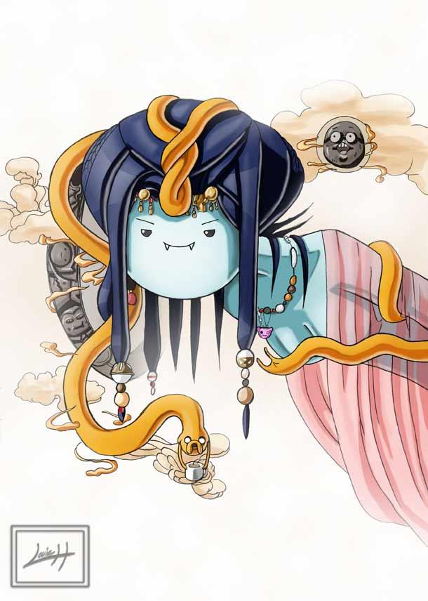 Adventure Time Yoshitaka Amano crossover by LeadApprentice