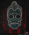 Greaser Skull on Black