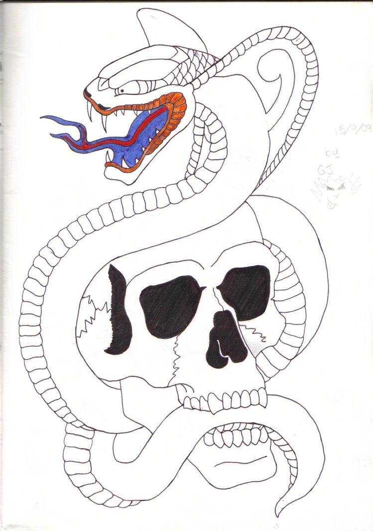 Snake and Skull Tattoo design
