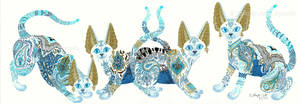 SOLD - Four Asian Porcelain Cats by JenniferAnneEsposito