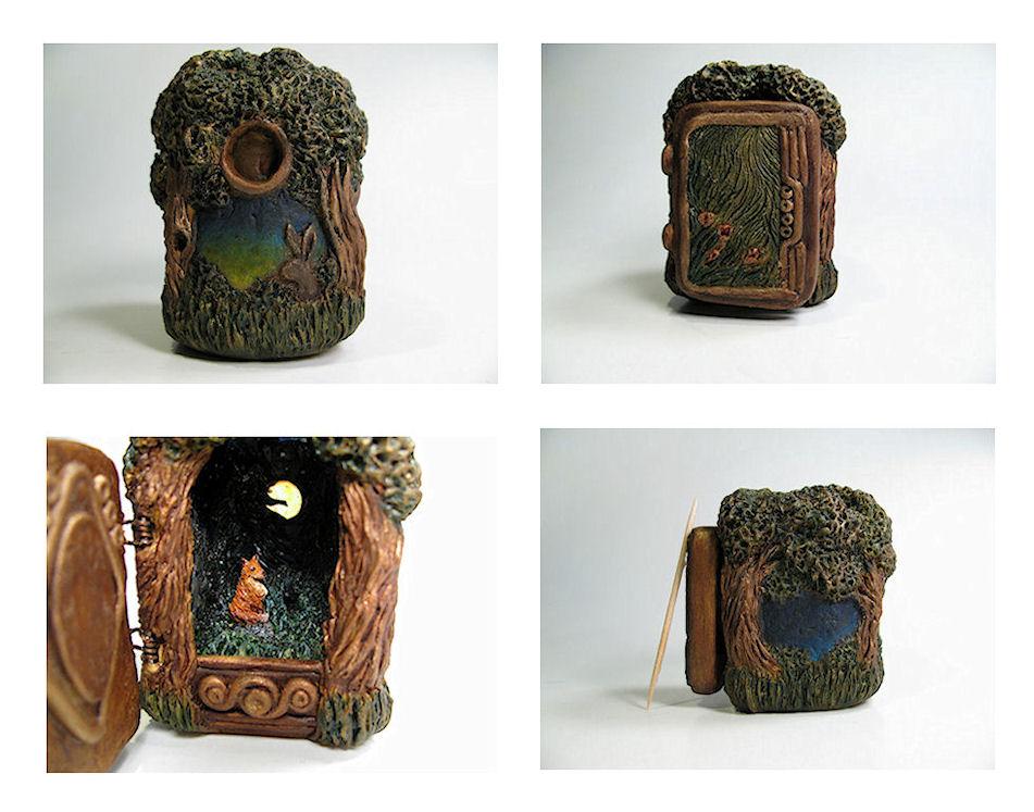 Fox Meadow Miniature Diorama Box by twistedcreaturesart on