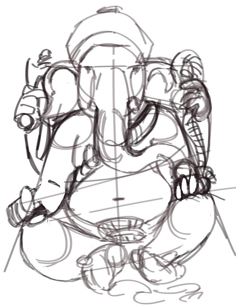 Ganesh sketch by dil3mma
