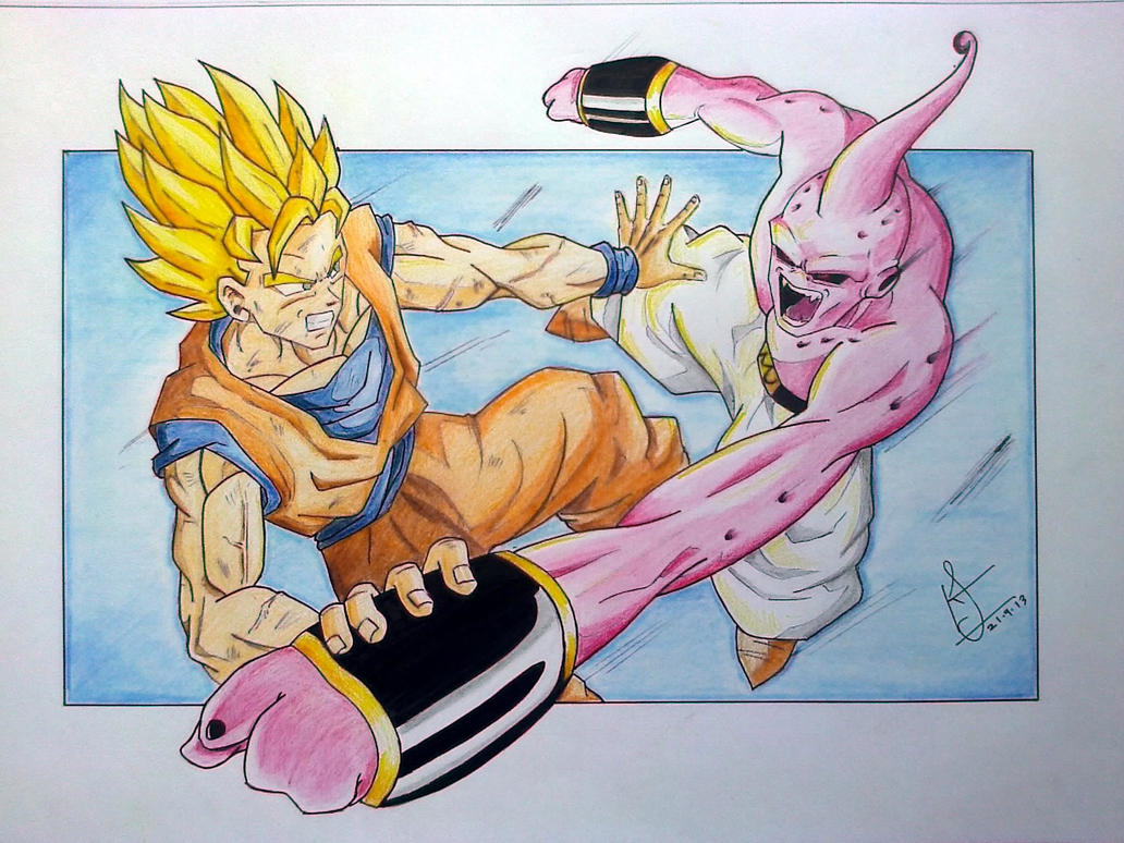 super saiyan goku vs kid buu by ska5796 on deviantart