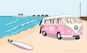 Pink VW Van by michelledh