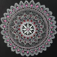 Pink Mandala Pen Drawing by michelledh