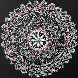 Pink Mandala Pen Drawing