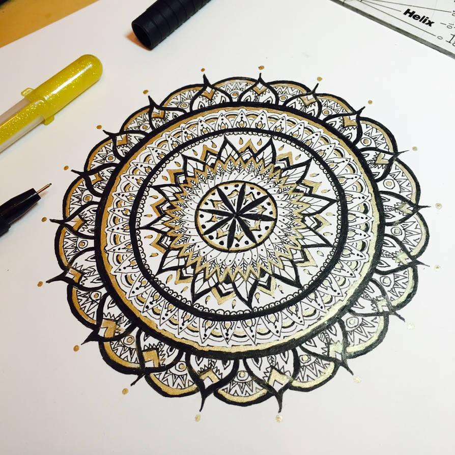 Mandala - Gold and Black by michelledh