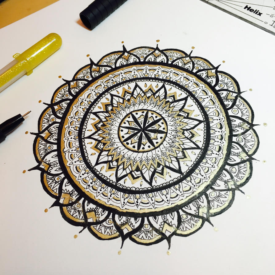 Mandala - Gold and Black by michelledh
