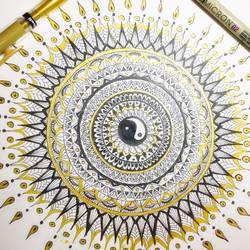 Black and gold Mandala