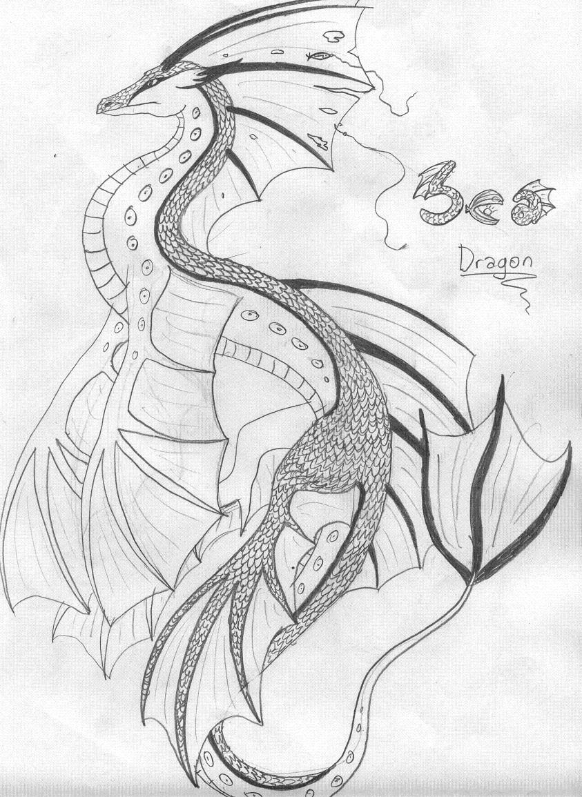 sea dragon no color by fantasi dragen on deviantart
