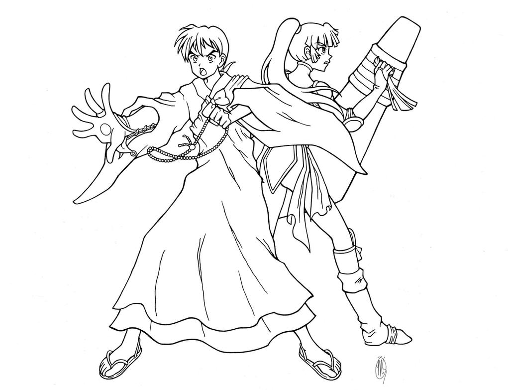 miroku and sango line art by artistmeli on deviantart