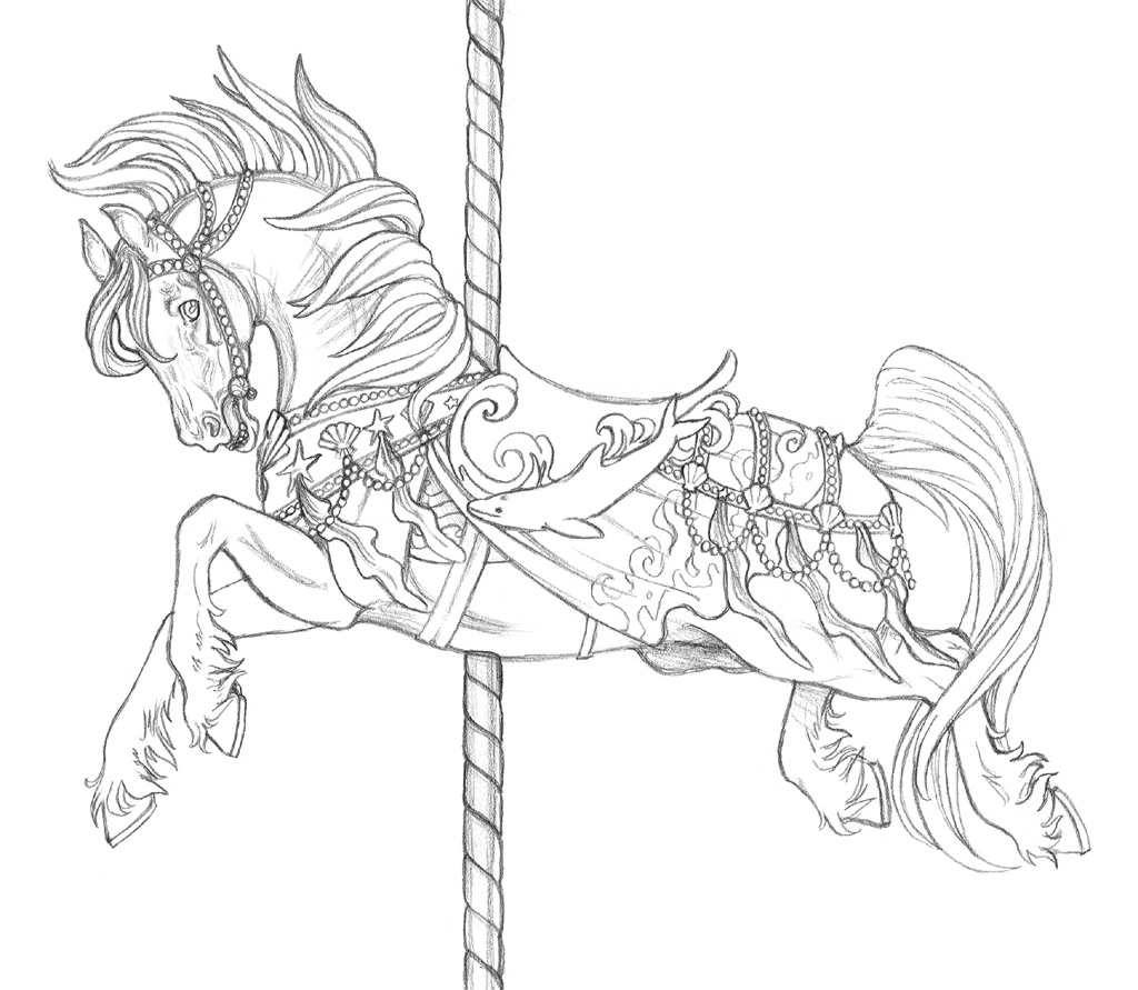 Carousel de neptune by artistmeli on deviantart for Carousel horse coloring page