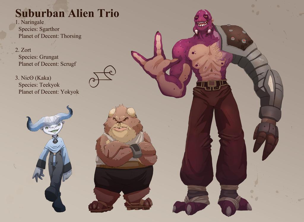 Suburban Alien Trio by TopHatTruffles