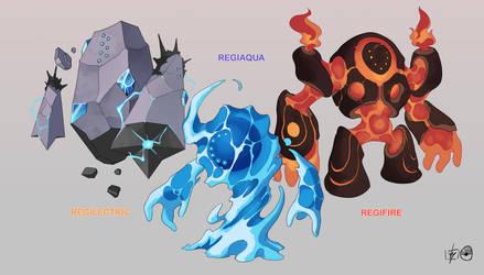 Regilectric, Regiaqua and Regifire