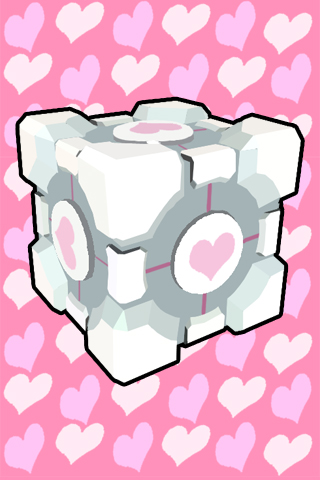 Companion Cube wallpaper - JS by JenniMGF