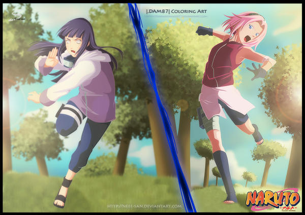 .: Two Girls for Naruto - Collab Darkartmind87 :. by Tsukineesan