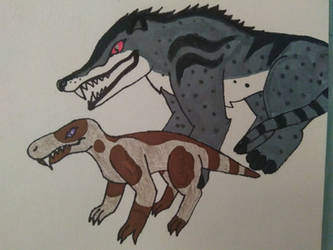 Andrewsarchus and Gorgonopsid by JoshXMattFoxes73