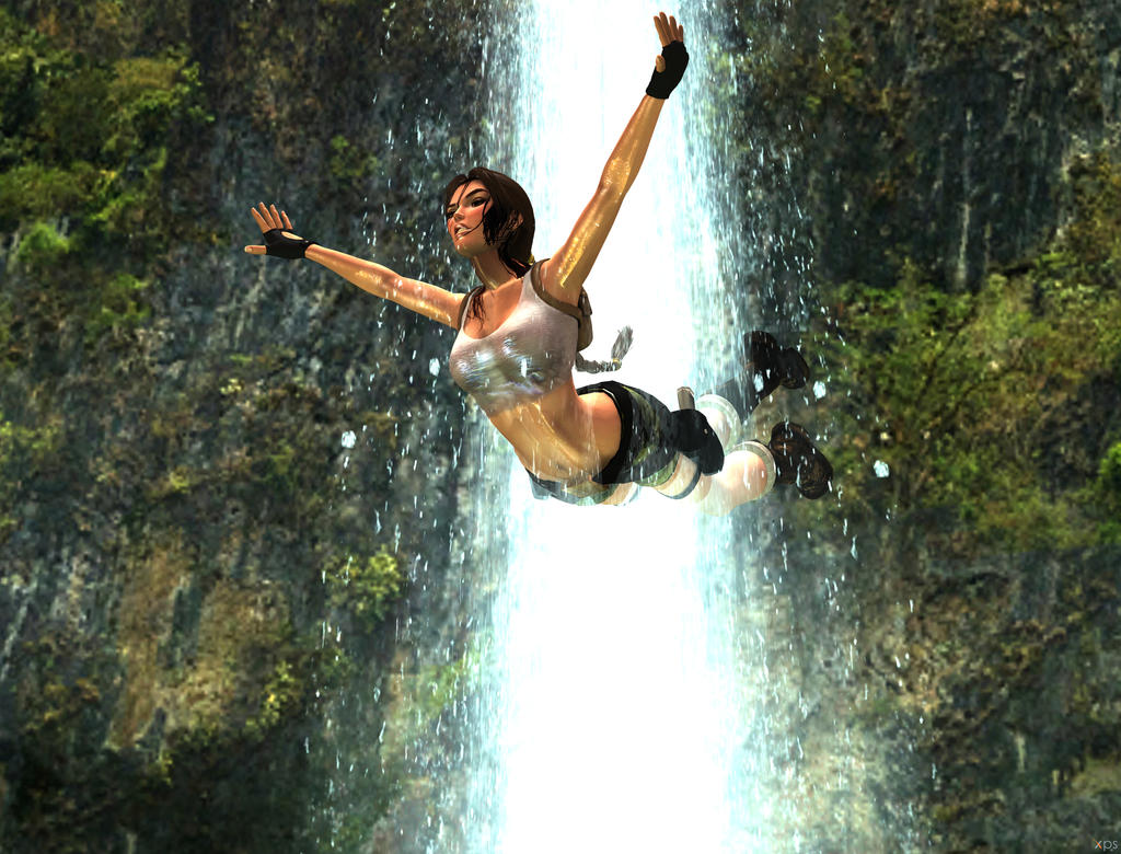 pacific coasts Lara Croft  swan dive by 7ipper