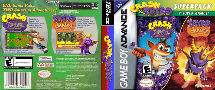 Crash and Spyro (FUSION) SUPERPACK GBA Cover