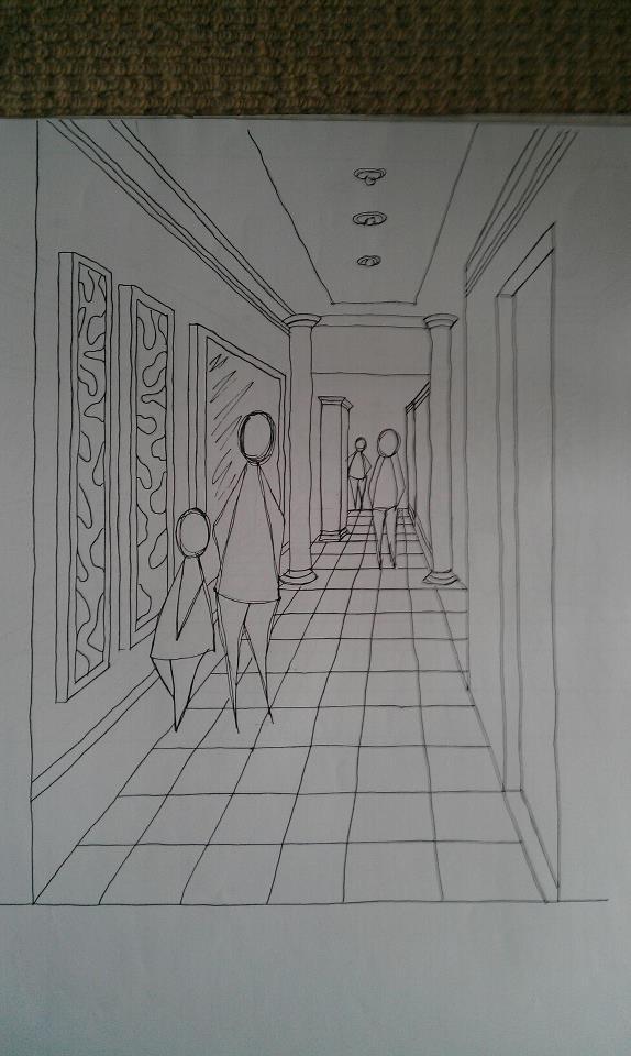 Fine Line Design Art Gallery : Art gallery perspective line drawing by darkknight