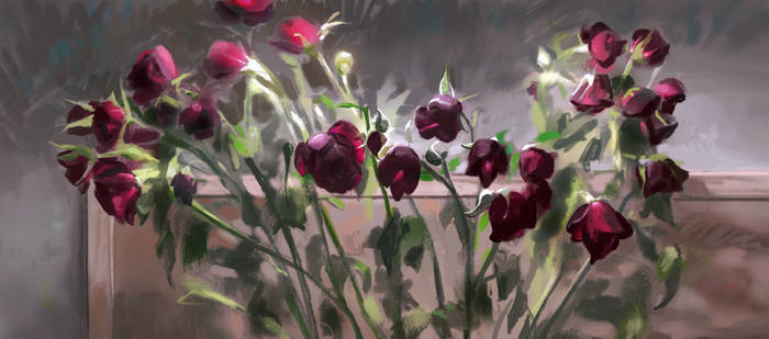 Red roses by oakenvial